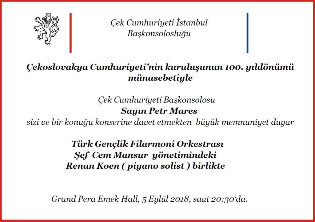 Çekya İstanbul Başkonsolosluğu'ndan Davetiye, 5.9.2018